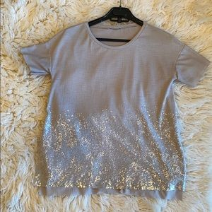 Zara oversized sequined tee with side slits